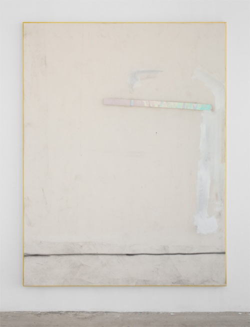 David-Ostrowski, F (Jung, Brutal, Gutausehend), 2012, acrylic, lacquer, adhesive foil and cotton on canvas, wood, 87 x 67.3 in (221 x 171 cm)
