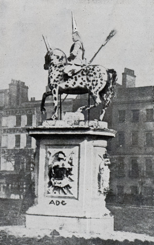 The defaced John Nost II statue of King George I in Leicester Square, London, 1866