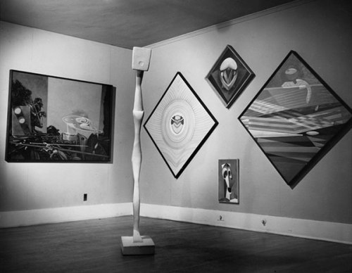 Max Ernst exhibition at the Copley Galleries, ca. 1949. Photographer unknown. Courtesy of the William Nelson Copley papers, Archives of American Art, Smithsonian Institution.