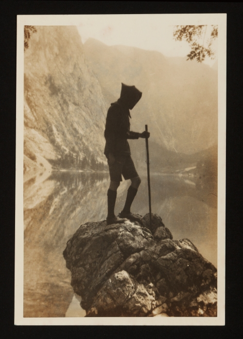 Angus McBean. Kinsman on rock, Switzerland, 1930.